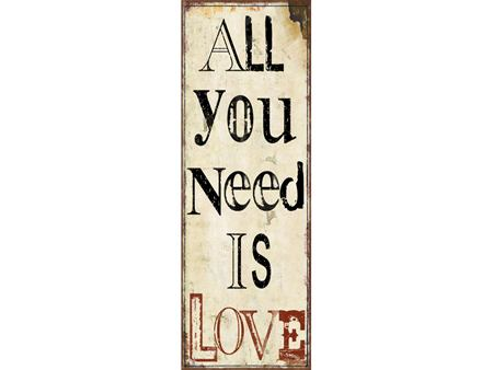 Vintage Dekoschild ALL YOU NEED IS LOVE